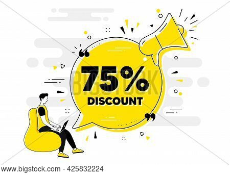 75 Percent Discount. Alert Megaphone Chat Banner With User. Sale Offer Price Sign. Special Offer Sym