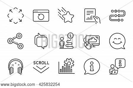 Technology Icons Set. Included Icon As Smile Face, Falling Star, Cloud Computing Signs. Document, Me