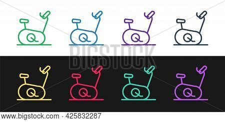 Set Line Stationary Bicycle Icon Isolated On Black And White Background. Exercise Bike. Vector