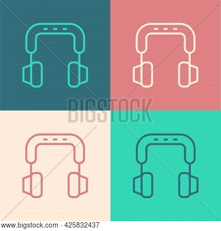 Pop Art Line Headphones Icon Isolated On Color Background. Earphones. Concept For Listening To Music