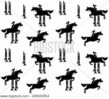 Vector Seamless Pattern Of Equestrian Woman Riding Show Jumping Horse Silhouette Isolated On White B