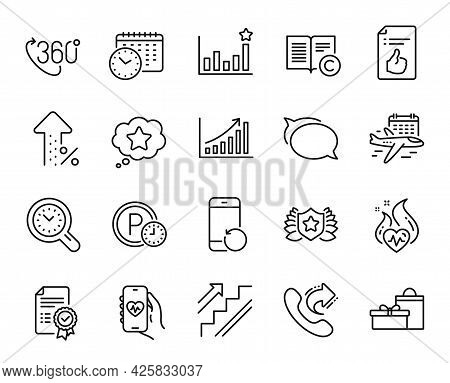 Vector Set Of Efficacy, 360 Degree And Laureate Line Icons Set. Increasing Percent, Select Flight An