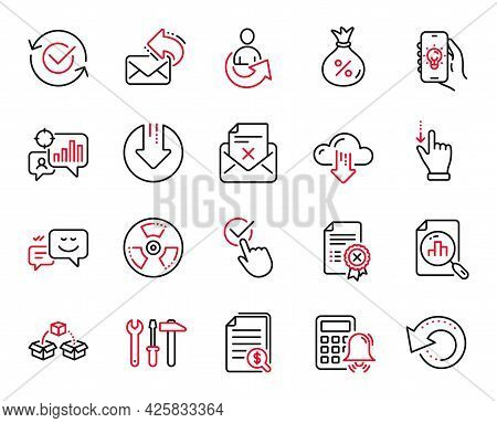 Vector Set Of Technology Icons Related To Reject Letter, Reject Certificate And Share Icons. Calcula