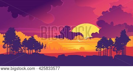 Vector Modern Banner Minimalistic Landscape Of Evening Nature Sunset Wilderness In Purple Neon Color