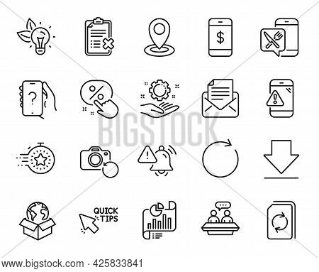 Vector Set Of Synchronize, Quick Tips And Attention Bell Line Icons Set. Warning Message, Eco Energy