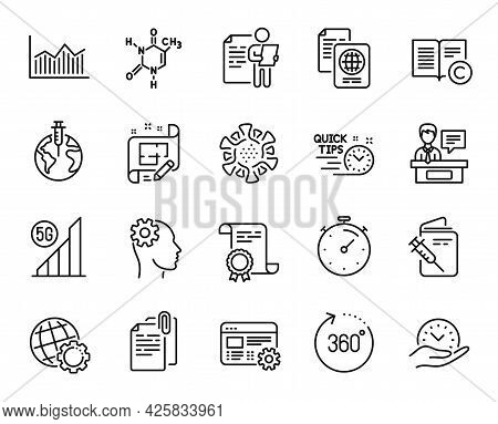 Vector Set Of Job Interview, Safe Time And 360 Degrees Line Icons Set. Engineering, Document Attachm