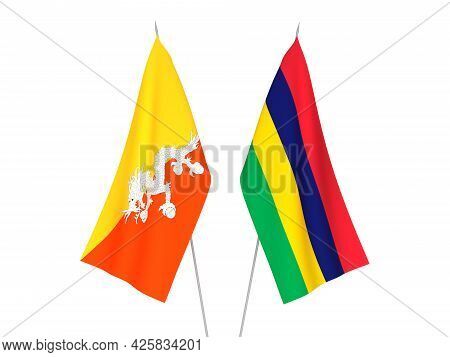 National Fabric Flags Of Republic Of Mauritius And Kingdom Of Bhutan Isolated On White Background. 3
