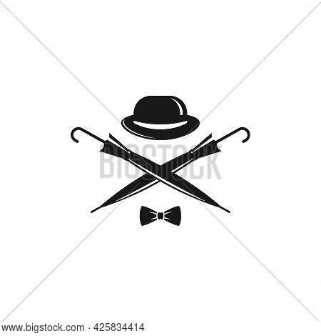 Bowler Hat, Bow Tie And Crossed Cane Umbrellas. Vintage Gentleman Club Logo. Vector Illustration Iso