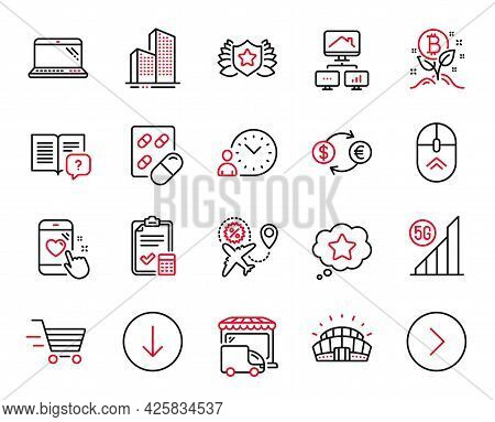 Vector Set Of Business Icons Related To Accounting Checklist, Delivery Shopping And Sports Stadium I