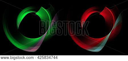 Red And Green Striped Backlit Curved Elements Form A Circular Frames On A Black Background. Graphic