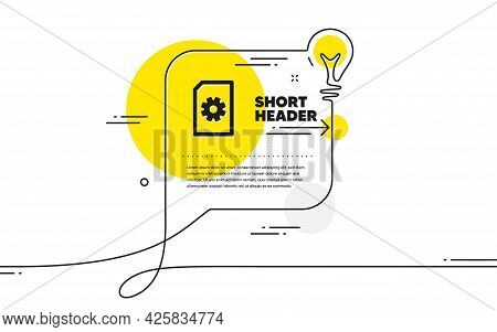 Document Management Icon. Continuous Line Idea Chat Bubble Banner. Information File With Cogwheel Si