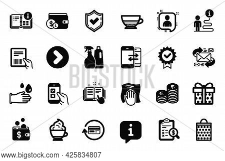 Vector Set Of Simple Icons Related To Technical Documentation, Washing Cloth And Shopping Bag Icons.