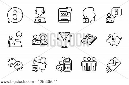 Business Icons Set. Included Icon As Friendship, Unlock System, Recovery Ssd Signs. Bill Accounting,