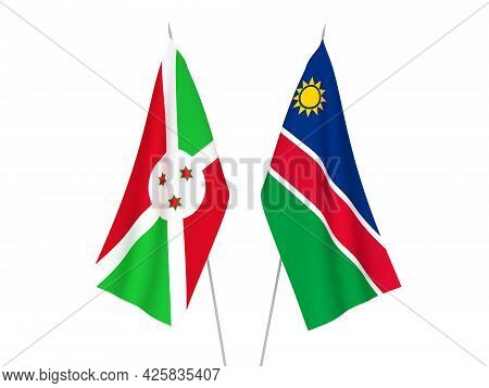 National Fabric Flags Of Burundi And Republic Of Namibia Isolated On White Background. 3d Rendering