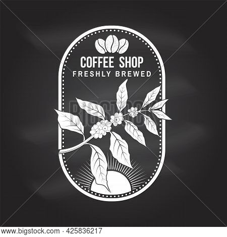 Coffe Shop Logo, Badge Template On The Chalkboard. Vector. Typography Design With Coffee Cup And Bra