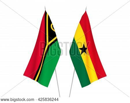 National Fabric Flags Of Ghana And Republic Of Vanuatu Isolated On White Background. 3d Rendering Il
