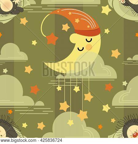 Month Sleeps. Hedgehog. Night Background. Sweet Dreams. Vector Animals Patterns Baby Nursery Art. Cu