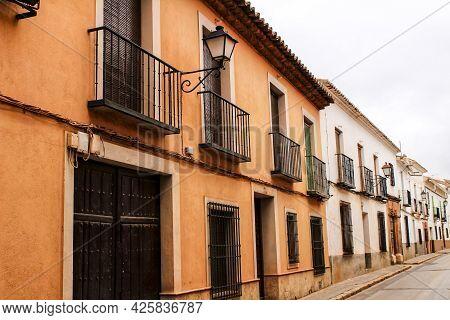 Old And Majestic Houses In The Streets Of Villanueva De Los Infantes Village, Ciudad Real Community,