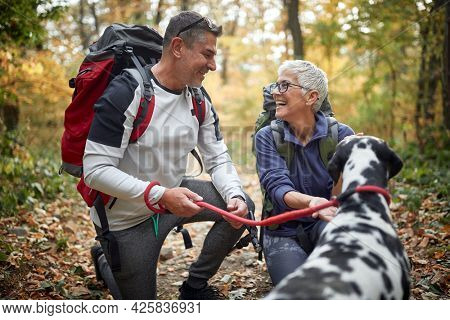 An elderly hikers couple and their dog enjoying a hike on a beautiful autumn day