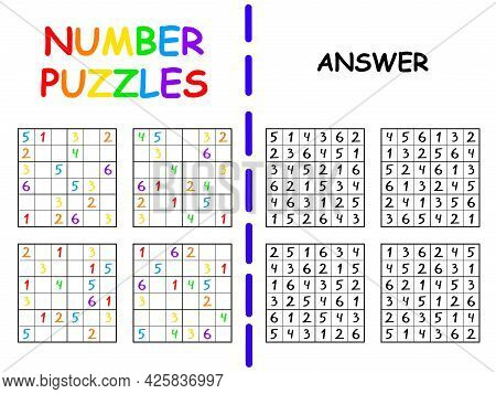 Sudoku Set With Answer Colorful Activity Page For School Children Vector Illustration. Educational N