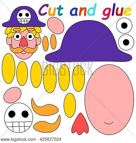 Cut And Glue Pirate - Childish Printable Worksheet Vector Illustration. Make Pirate With Funny Hat A
