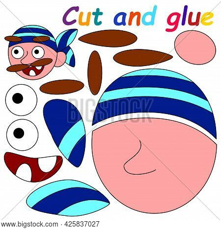 Cut And Glue Printable Worksheet With Pirate Vector Illustration. Colorful Educational Activity Page