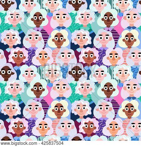Diversity Women With Natural Silver Hair Seamless Pattern Vector. Funny Cartoon Modern Women Crowd O