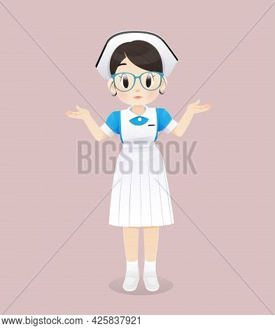 Nursing Student Wearing A Blue And White Uniform Stands On A Pink Background. Smiling Female Nursing