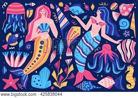 Vector Clipart. Fabulous Underwater World. Colorful Marine Life. Cute Hand-drawn Mermaids, Fish, She