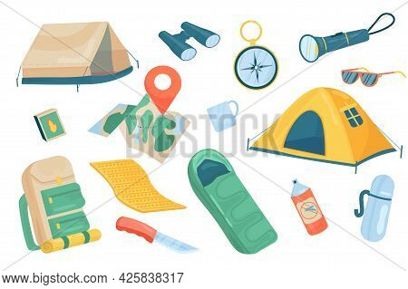 Travel Accessory Cute Elements Isolated Set. Collection Of Camping Tents, Binoculars, Compass, Flash