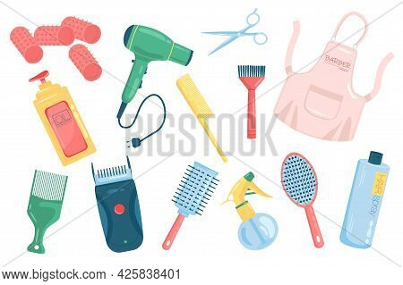 Barbershop Accessories Cute Elements Isolated Set. Collection Of Curlers, Hairdryer, Comb, Apron, Sh