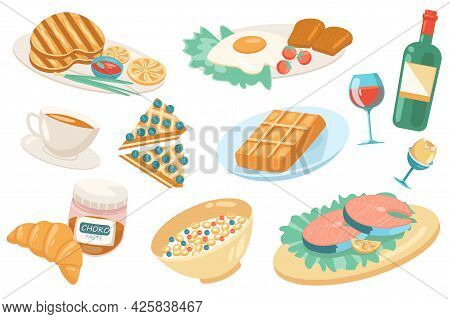 European Food Cute Elements Isolated Set. Collection Of Traditional Food At Restaurant. Grilled Meat