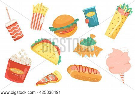 Fast Food Cute Elements Isolated Set. Collection Of Fries, Hamburger, Cheeseburger, Hot Dog, Burrito