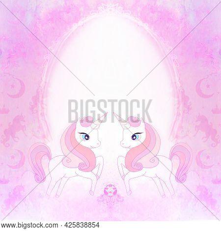 Cute Cartoon Unicorns - Decorative Fairy-tale Frame , Raster