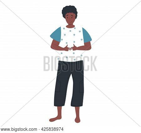 Afro American Girl Stands And Hesitates. Shy Female Character Standing Isolated On White Background.