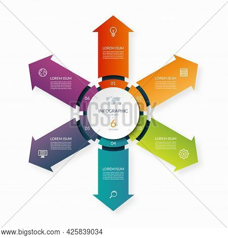 Modern Business Infographic Circle With 6 Arrows Pointing From The Center. 6-step Vector Template Fo