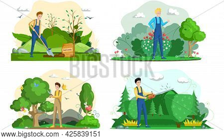 Gardener Male Character Works In Yard Scenes Set. Young Adult Man In Overalls Planting Tree, Cuts Bu