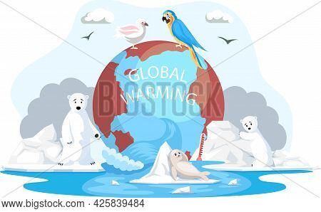Animals And Birds Escape Climate Change And Global Warming On Planet. Animals During Global Warming