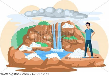 Change Climate, Problem Of Natural Water Sources, Excess Water On Planet Due To Melting Glaciers. Ma