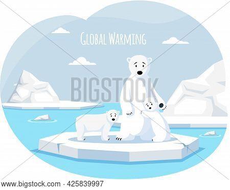 Polar White Bear Against Background Of Iceberg, She-bear And Cubs. Wild Animal Living In Antarctica.