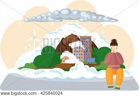 Save Planet With Sad Woman Sitting Near High City Building Covered With White Snow. Air Pollution, P
