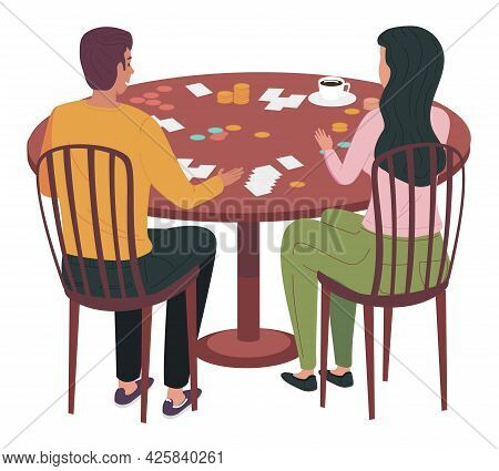Young People Spend Time Together In Their Apartment. Girl And Guy With Board Game On Table. Couple I