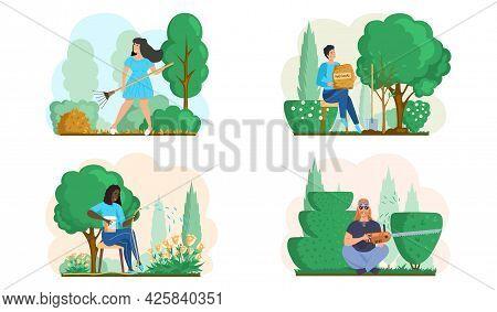 Seasonal Gardening With Gardeners Working In Outdoor Garden Scenes Set With People Growing Plants Co