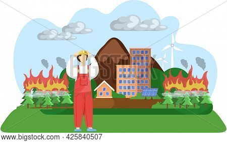 Change Climate Earth Is Victim Of Global Warming. Save Planet, Fire Destroys Forest. People Make Wor