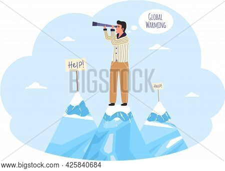 Man With Spyglass Stands On Mountain And Looks. Climate Change On Planet, Global Warming, Greenhouse