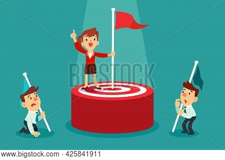 Successful Businesswoman Holding Flag On Top Of Target Winning Against The Competition. Setting Goal