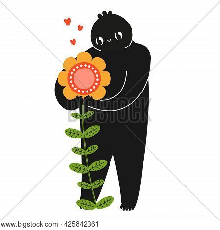 Cartoon Funny Creature Hold Flower With Love. Nature Lover, Environment Care Concept,