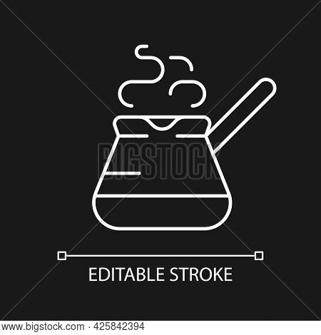 Turkish Coffee Pot White Linear Icon For Dark Theme. Cezve For Brewing Fresh Espresso At Home. Thin