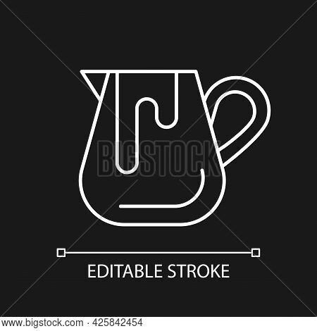 Milk Jug White Linear Icon For Dark Theme. Pitcher For Professional Latte Art. Barista Accessories.