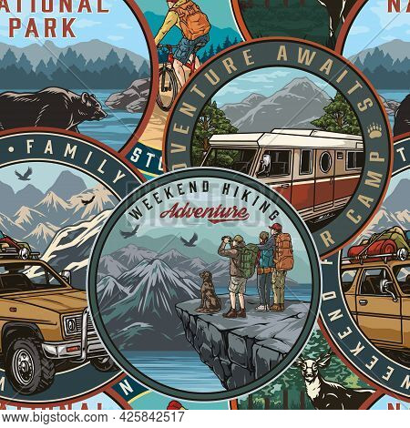 Summer Adventure Vintage Seamless Pattern Consists Of Emblems With Travel Car And Bus Bear Deer Trav